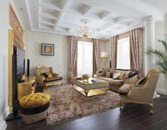Wohnideen Wohnzimmer Klassisches Wohnzimmer Mit Braunem Teppich Und  Goldenen Elementen