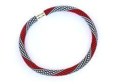Bead Crochet Necklace Classic White Black Red by KittenUmka