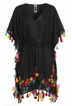 Black Festive Kaftan With Embroidery and Tassel Detailing