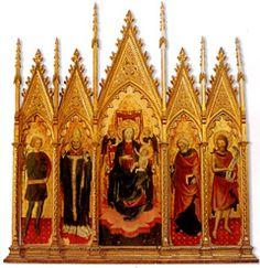Bottega degli Zavattari, Madonna in trono con il Bambino e i Santi, 1450 ca., tempera su tavola. Roma, Castel Sant'Angelo