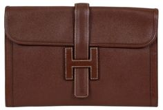 Hermès Large Jige Brown Epsom Clutch