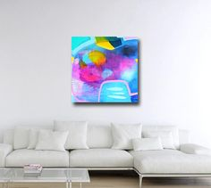 Large Canvas Wall Art, Blue Abstract Canvas, Giclee Print from painting, Large Blue Abstract Art Painting, Canvas Print, blue pink artwork  This is a lovely abstract art canvas giclee print from one of my original paintings.