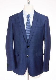 ETRO Mens Blazer 46 US 36 S Blue Weave Wool Linen 2Btn Sport Jacket #Etro #TwoButton