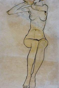 Egon Schiele. Seated nude