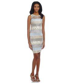 Kay Unger Brocade Jacquard & Lace Shift Dress