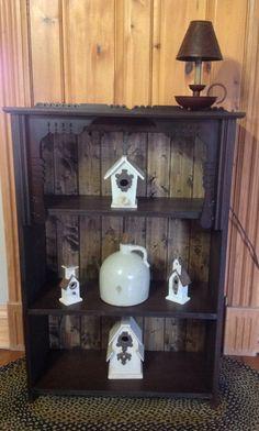 Bookcase Shelf from antique pump organ (circa 1896). Primitive upcycled repurposed furniture.