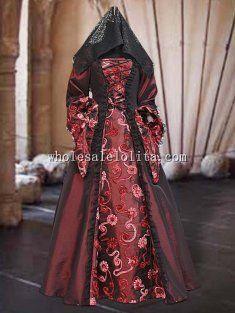Custom Made 16/17th Century Renaissance Medieval Style Gothic Burgundy Taffeta Dress