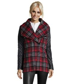 RD Style : red and black plaid wool asymmetrical zip coat - would like something slightly more fitted and shorter...