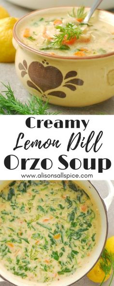 Creamy Lemon Dill Orzo Soup by Alison's Allspice vegetarian soup recipe dill recipe lemon recipe orzo recipe lemon soup quick vegetarian dinner Dill Recipes, Orzo Recipes, Healthy Soup Recipes, Vegetarian Recipes, Dinner Recipes, Vegan Soups, Dill Soup Recipe, Lemon Rice Soup, Lemon Orzo