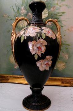 Rare Victorian Black Amphora Vase