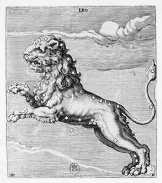 , 16th century CE, Astrology, Constellation, Engraving, Leo, Zodiac Sign
