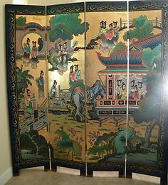 chinese screens room dividers | Antique Vintage Chinese 4 Panels Carved Screen or Room Divider | eBay