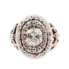 Edwardian Double Halo Old Mine Cut Diamond Ring | From a unique collection of vintage engagement rings at https://www.1stdibs.com/jewelry/rings/engagement-rings/