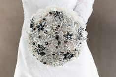 Black Silver White Wedding Brooch Bouquet. by Rubybloomscom, $55.00