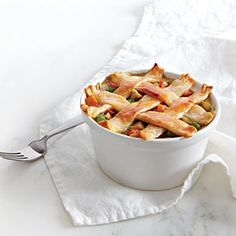Pastry-Topped Chicken Potpie | MyRecipes.com Can also do with biscuits on top...same temp, 35 minutes or until browned