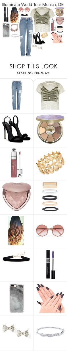 """""""Illuminate World Tour Munich, DE"""" by imthelifeoftheparty ❤ liked on Polyvore featuring River Island, Giuseppe Zanotti, tarte, Christian Dior, INC International Concepts, Too Faced Cosmetics, Accessorize, Dolce&Gabbana and Casetify"""