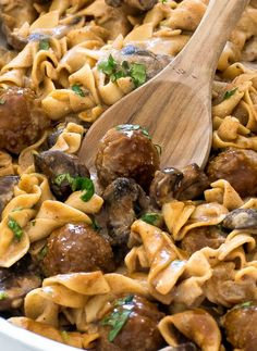 One Pan Meatball Stroganoff. One Pan Meatball Stroganoff Recipes One Pan Meatball Stroganoff. A quick and delicious dinner that is ready in less than 30 minutes! Beef Recipes, Cooking Recipes, Healthy Recipes, What's Cooking, Yummy Recipes, Frozen Meatball Recipes, Meatball Stroganoff, Stuffed Mushrooms, Gastronomia