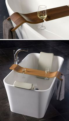 7 Things You Need To Create The Perfect Spa at Home // A bath caddy with a few cut outs lets you bring all your essentials into the tub with you. Bathtub Tray, Bathtub Caddy, Bathtub Decor, Bathroom Spa, Bath Board, Wooden Bath, Bath Caddy Wooden, Bath Table, Bathroom Design Luxury