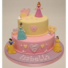 Disney Princess Birthday Cake.  How perfectly simple and pretty!