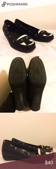 Ralph Lauren Leather Loafers These Ralph Lauren Leather Loafers have only been worn once and are in excellent condition! Perfect for work or sophisticated gatherings. The souls are rubber and provide comfortable support with each step. Black & off-white with pale gold accents will compliment so many different wardrobe combinations. Lauren Ralph Lauren Shoes Flats & Loafers