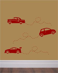 Here is a fun set of cool car decals for your little guys room or play room. Set includes two each of three different car designs. These