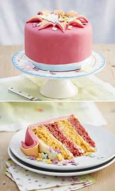 Orange and Rose Exploding Cake ~ rosewater buttercream between alternating layers of orange & rose sponge cake, finished with rolled fondant & marzipan | recipe by GBBO s4 finalist Kimberley Wilson for Dr Oetker brand | via Manchester Evening News