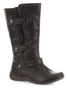 487cc6cb1a4c1d Evans Black Triple Velcro Comfort Boots - Long Boots - Shoes Wide Calf Boots