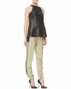 Pleated Silk-Inset Leather Top & Silk Track Pants by Adam Lippes at Neiman Marcus.