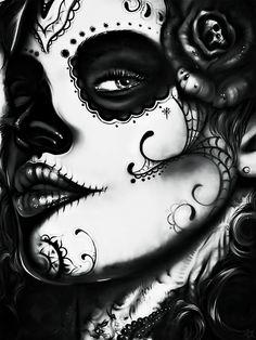 lifeisthefight: SourceMore edits here. Sugar Skull Girl, Skull Art, Halloween Face Makeup, Artwork, Day Of The Dead, Death, Marriage, Work Of Art, Auguste Rodin Artwork