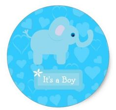 1.5inch Blue Elephant & Hearts Baby Boy Announcement Classic Round Sticker #Affiliate