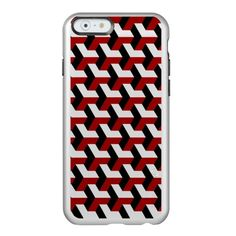 Barcelona 3d geometric pattern in red and black incipio feather® shine iPhone 6 case