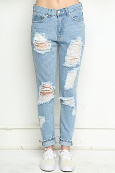 Brandy ♥ Melville | Destroyed Boyfriend Denim Jeans - Clothing