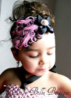 Baby Girl Vintage Inspired Pink and Black Feather pad Headband
