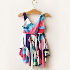 little girl dresses 2016 summer brand rainbow stripe toddler girls dress fashion suspenders kids dresses for girl baby clothes