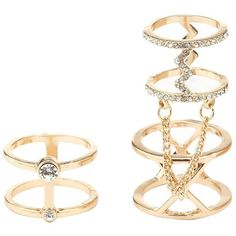 Charlotte Russe Gold Chained & Caged Rings - 2 Pack by Charlotte Russe... ($6) ❤ liked on Polyvore featuring jewelry, rings, gold, charlotte russe, midi rings, yellow gold stackable rings, mid-finger rings and mid knuckle rings
