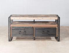 Meuble TV en bois recyclé de bateaux avec 2 tiroirs métal - INDUSTRYAL  €350 (livraison comprise...) L 112 / P 40 / H 55