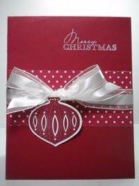 """christmas card **** Stamp Set: SU """"Contempo Christmas"""". Although this particular stamp set is retired, a bulb from Tags til Christmas, Delightful Decorations, or Chock-Full of Cheer may be used."""