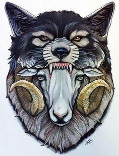 Эскиз волка с бараном