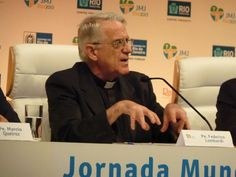 Rio de Janeiro, Brazil - July 22, 2013: Fr. Federico Lombardi at the July 22 press conference at the WYD 2013 media center in Rio. Credit: Michelle Bauman/CNA
