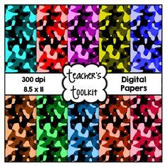 $ #Camouflage #Digital #Papers {8.5 x 11} #Clip #Art CU OK