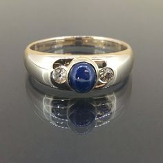 Estate 14k Yellow gold Natural Blue Sapphire & old mine cut Diamond ring .85ctw by crystalanchor on Etsy