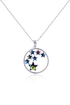 Delicate Silver-tone Austrian Azure Crystals Stars Pendent necklace