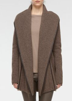 A gorgeously textured knit is trimmed with smooth leather piping on this open-front car coat, with an easy fit and shawl collar.