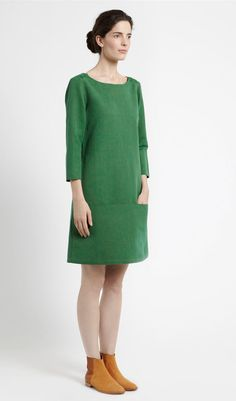 Green Vintage Round Neck Long Sleeves Straight Style Day Dress