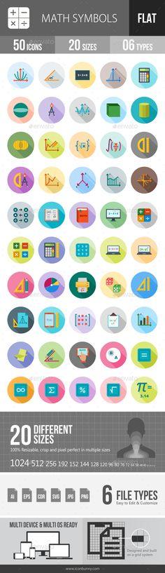 Math Symbols Flat Shadowed Icons