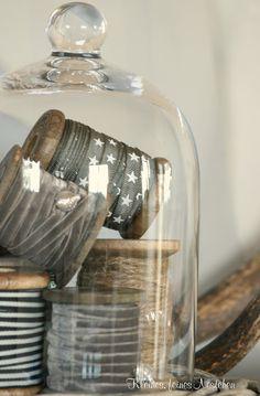 cloche of ribbon & twine Cloche Decor, Wood Spool, The Bell Jar, Bell Jars, Deco Design, Apothecary Jars, Velvet Ribbon, Haberdashery, Glass Domes