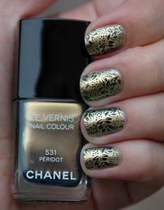 Baroque print nails with Chanel Peridot polish