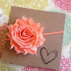 Peach Shabby Flower Headband Orange Flower Headband by HipAndHail, $3.50