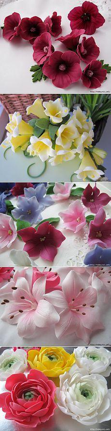 Лепка. Шикарные цветы из сахарной мастики для украшения тортов. Фото мастер- классы- много.