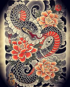 The traditional snake tattoo designs are diverse as their meanings are. Here are a few traditional Japanese snake tattoo designs worth considering. Japanese Snake Tattoo, Tattoo Japanese Style, Japanese Dragon Tattoos, Japanese Tattoo Designs, Japanese Sleeve Tattoos, Flower Tattoo Designs, Japan Tattoo Design, Irezumi Tattoos, Yakuza Style Tattoo